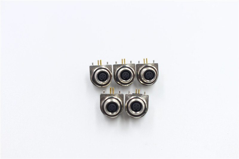 M5 female 4pin connector 90 degree DIP connector waterproof IP67